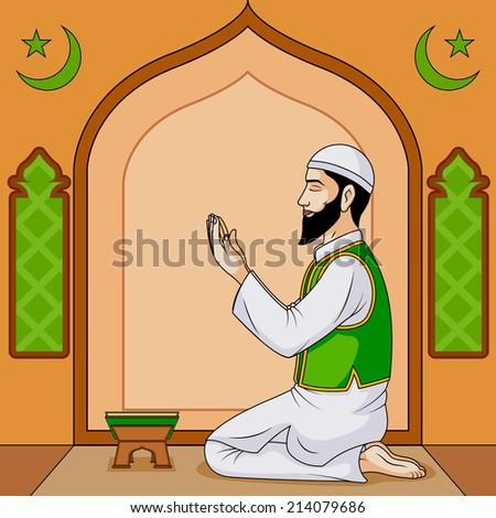 Muslim offering namaaz on Eid in vector - stock vector
