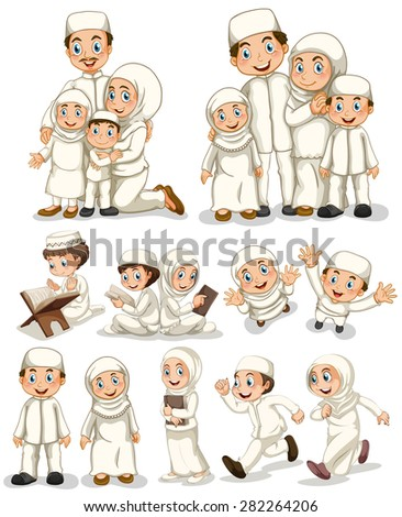 Muslim people doing activities - stock vector
