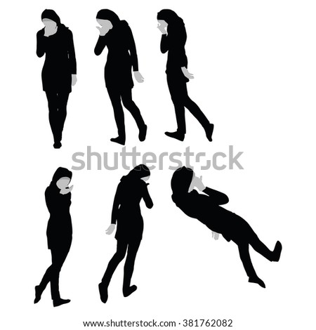Muslim woman silhouette in sorrow pose, isolated on white background