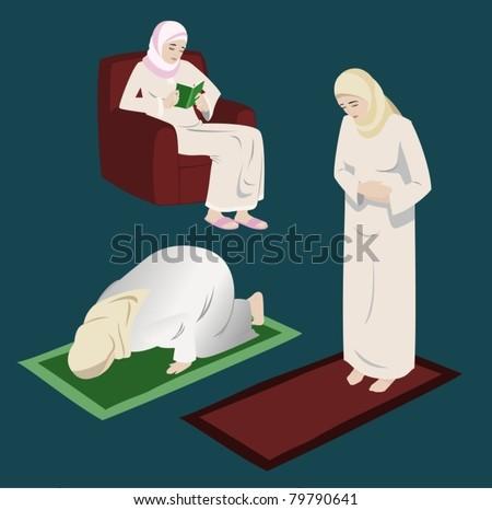 Muslim Women Doing Religious Rituals-vector - stock vector