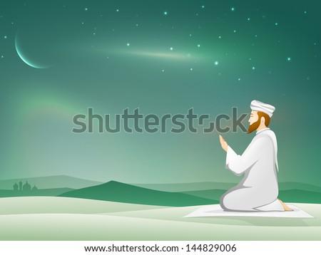 Muslim young mans in traditional dress praying (Namaz, Islamic Prayer) in shiny moonlight night background. - stock vector