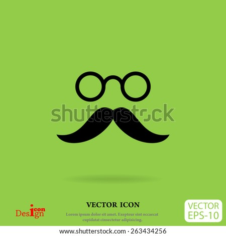 mustache and eyeglasses vector icon - stock vector