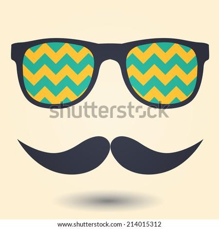 Mustache and glasses icon - stock vector