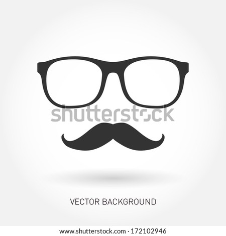 Mustache and glasses. Vector illustration  - stock vector
