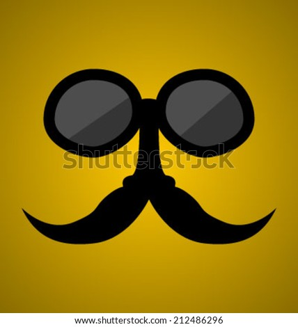 mustache and sunglasses in vector  - stock vector