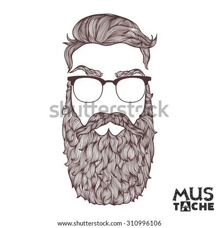 Mustache Beard and Hair Style. - stock vector