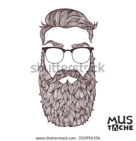 Mustache Beard and Hair Style. - stock vector