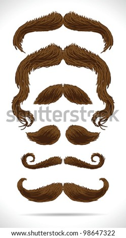Mustache brown hair set - vector illustration Shadow and background are on separate layers. Easy editing.