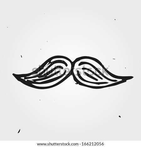 Mustache hand drawn, part of the face - stock vector