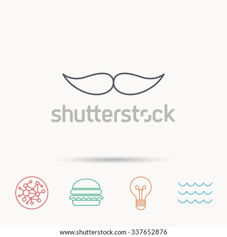 Mustache icon. Hipster symbol. Gentleman sign. Global connect network, ocean wave and burger icons. Lightbulb lamp symbol. - stock vector