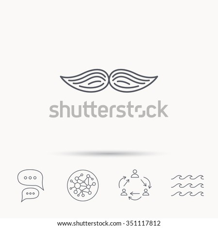 Mustache icon. Hipster symbol. Gentleman sign. Global connect network, ocean wave and chat dialog icons. Teamwork symbol. - stock vector