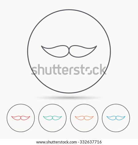 Mustache icon. Hipster symbol. Gentleman sign. Linear circle icons. - stock vector
