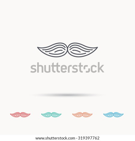 Mustache icon. Hipster symbol. Gentleman sign. Linear icons on white background. Vector - stock vector