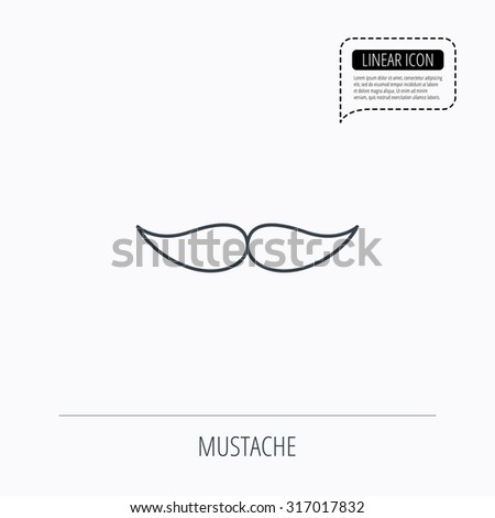 Mustache icon. Hipster symbol. Gentleman sign. Linear outline icon. Speech bubble of dotted line. Vector - stock vector