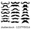 mustache in a set on a white background - stock vector