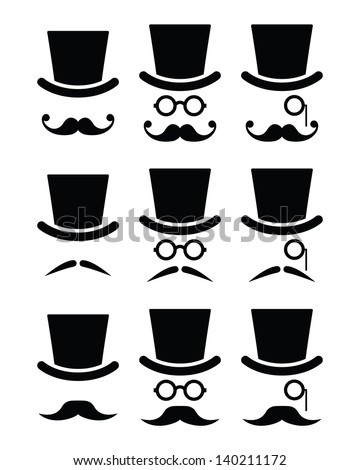 Mustache or moustache with hat and glasses icons set - stock vector