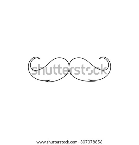 Mustache. Outline black simple vector pictogram - stock vector