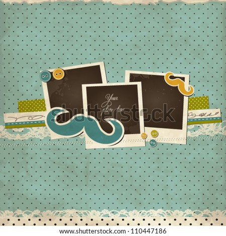 Mustache scrap card with photo frames - stock vector