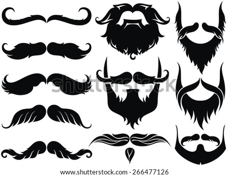 Mustache set - stock vector