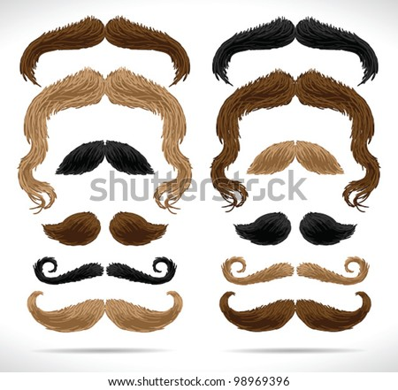Mustaches big set (blond/brown/black/isolated) - vector illustration. Shadow and background are on separate layers. Easy editing.