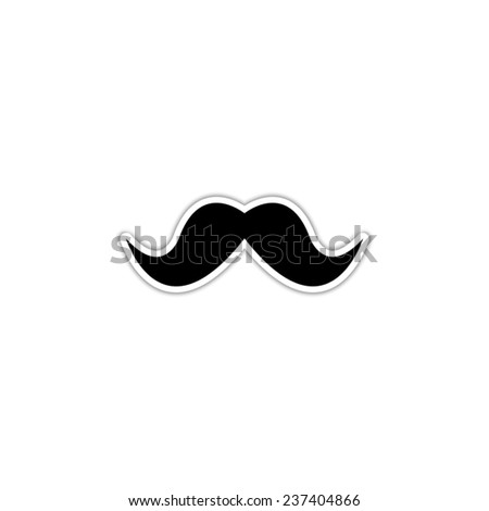 Mustaches - black vector icon with shadow - stock vector