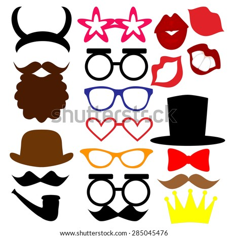 mustaches, lips, eyeglasses, crown, beard, horns, hat, tie silhouettes and design elements for party props isolated on white background - stock vector