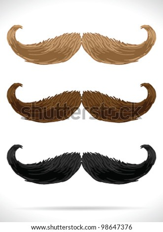 Mustaches set (3 color)5 - vector illustration Shadow and background are on separate layers. Easy editing. - stock vector