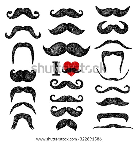 Mustaches set. Design elements. Hand drawn set. - stock vector
