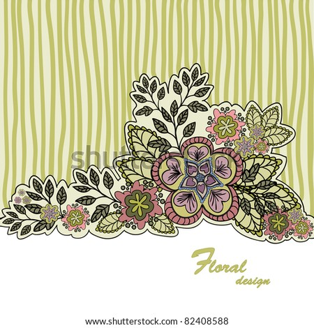 mustard striped background with a beautiful bouquet of hand-drawn - stock vector