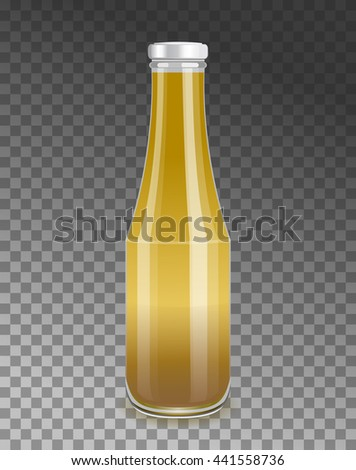 Mustard vector illustration. Fast Food sauce. Isolated realistic glass bottle with screw cup. - stock vector