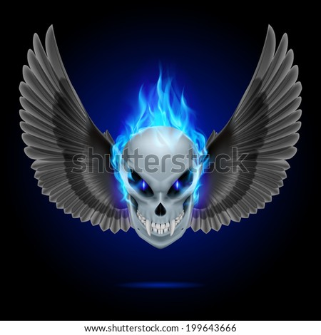Mutant skull with long fangs, blue flame and black wings - stock vector
