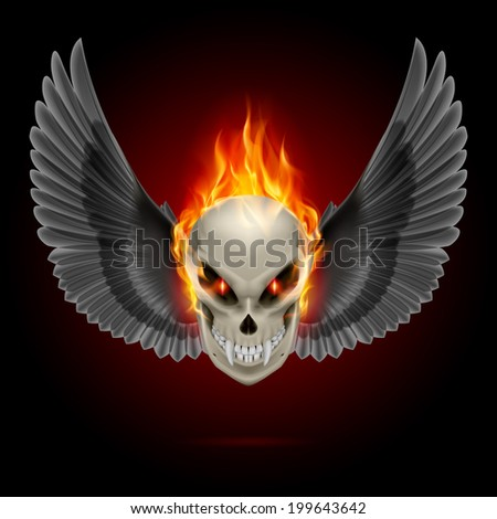 Mutant skull with long fangs, orange flame and black wings - stock vector