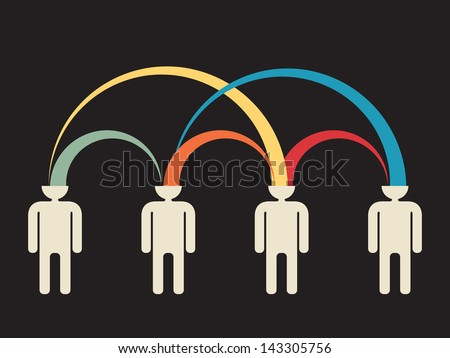 mutual peer to peer idea exchange - stock vector