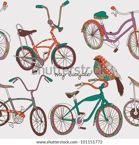 My Bicycle - stock vector