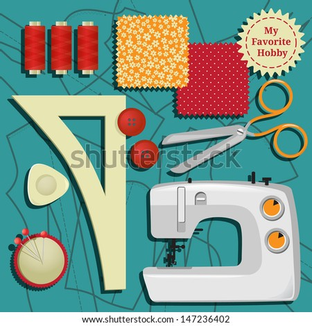 my favorite hobby. sewing. sew on a sewing machine - stock vector