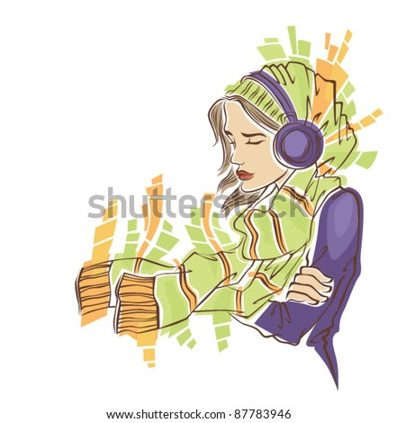 my favorite music vector image of girl in winter clothes