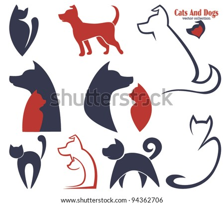 my favorite pet, vector collection of animals symbols - stock vector