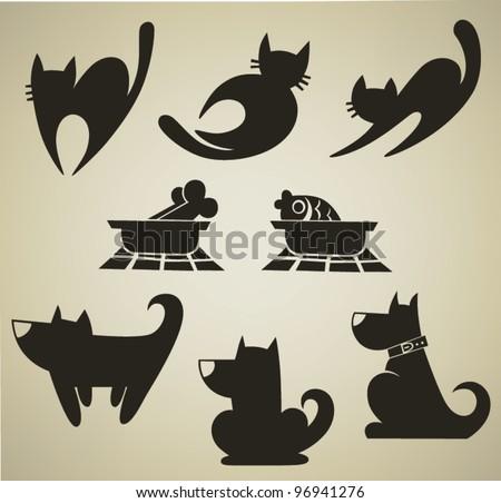 my favorite pet, vector collection of cartoon animals symbols - stock vector