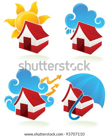 my favorite weather, weather and home symbols - stock vector