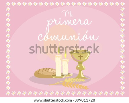 My first communion card invitation religious stock vector 2018 card invitation religious elements on pink background frame made with stopboris Image collections