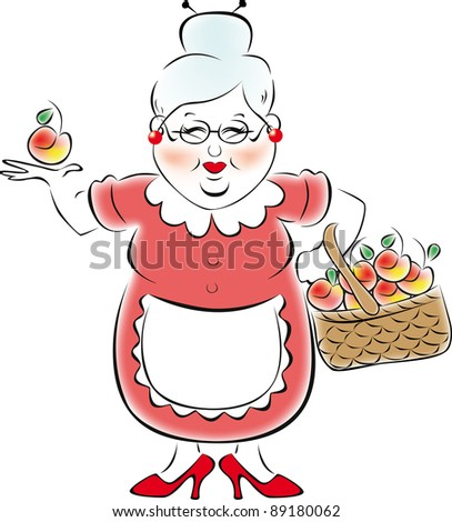My grandmother brought a large basket of apples - stock vector