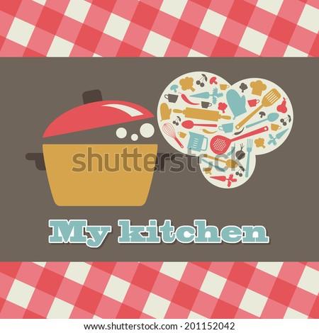 my kitchen card design. vector illustration - stock vector
