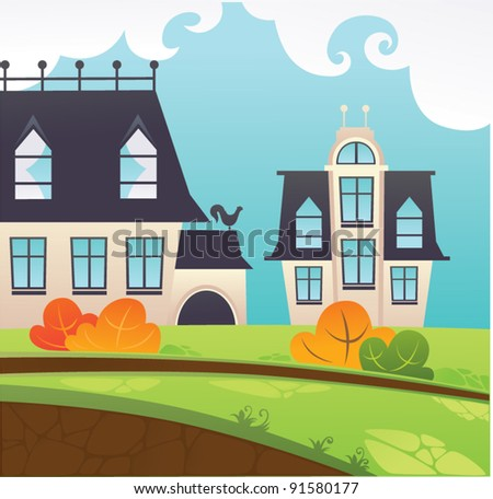 my little town, cartoon vector illustration - stock vector