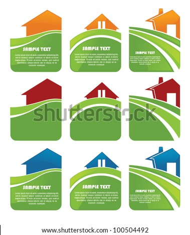 my lovely home, vector collection of property stickers - stock vector