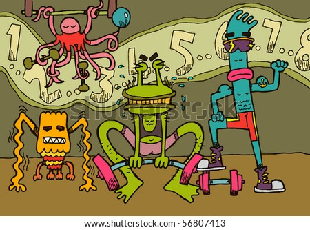 My new friends at the gym. - stock vector