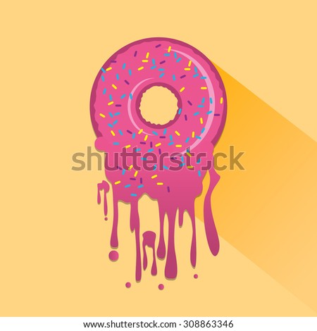 My Sweet Donut Vector Illustration with Dripping Pink Glaze and Hand Drawn Phrase. Abstract Food Background. - stock vector