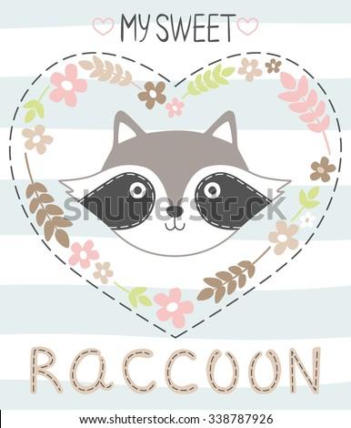 My sweet raccoon. Vector illustration. Children's card or print on fabric. - stock vector
