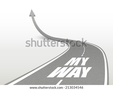 my way words on highway road going up as an arrow - stock vector