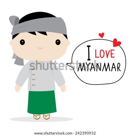 Myanmar Men National Dress Cartoon Vector - stock vector