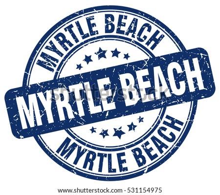 Myrtle Beach Stamp Blue Round Grunge Vintage Sign